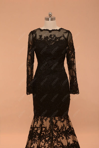 Backless black lace mermaid prom dresses long sleeves