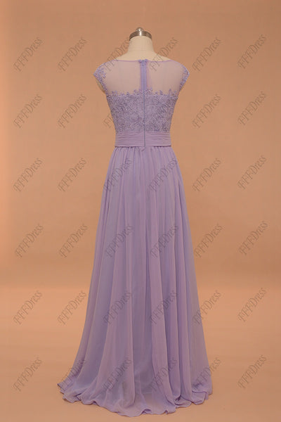 Lace lavender Prom Dresses cap sleeves bridesmaid dresses