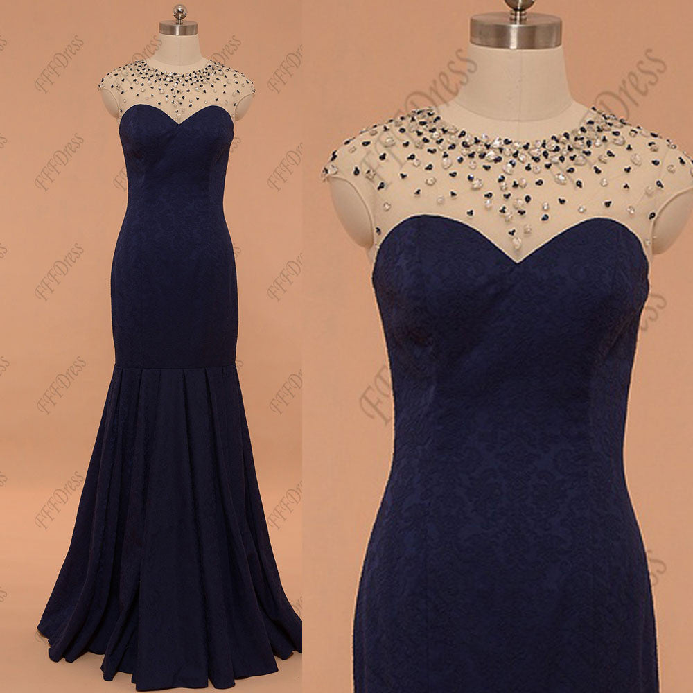 Sparkly crystals navy blue modest mermaid prom dresses long