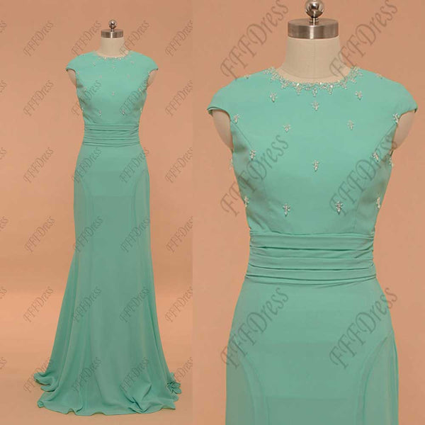 Modest mermaid mint green prom dress with sparkly crystals