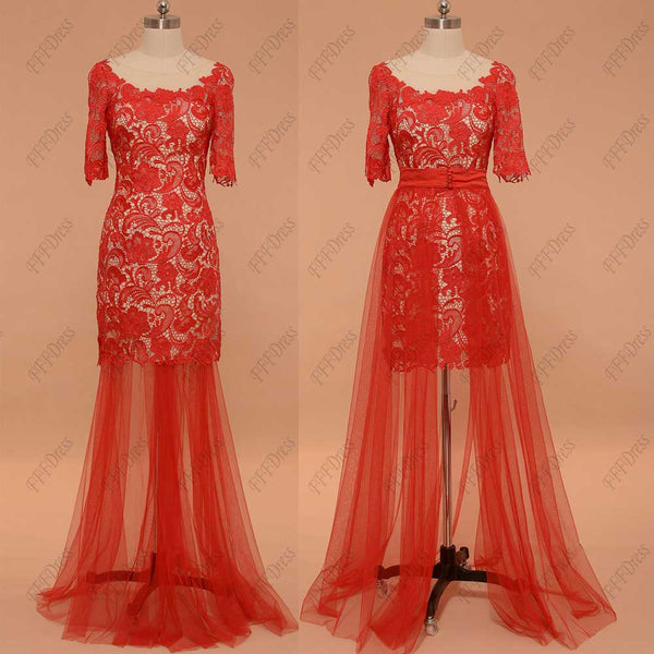 Two piece red lace short prom dresses with sleeves