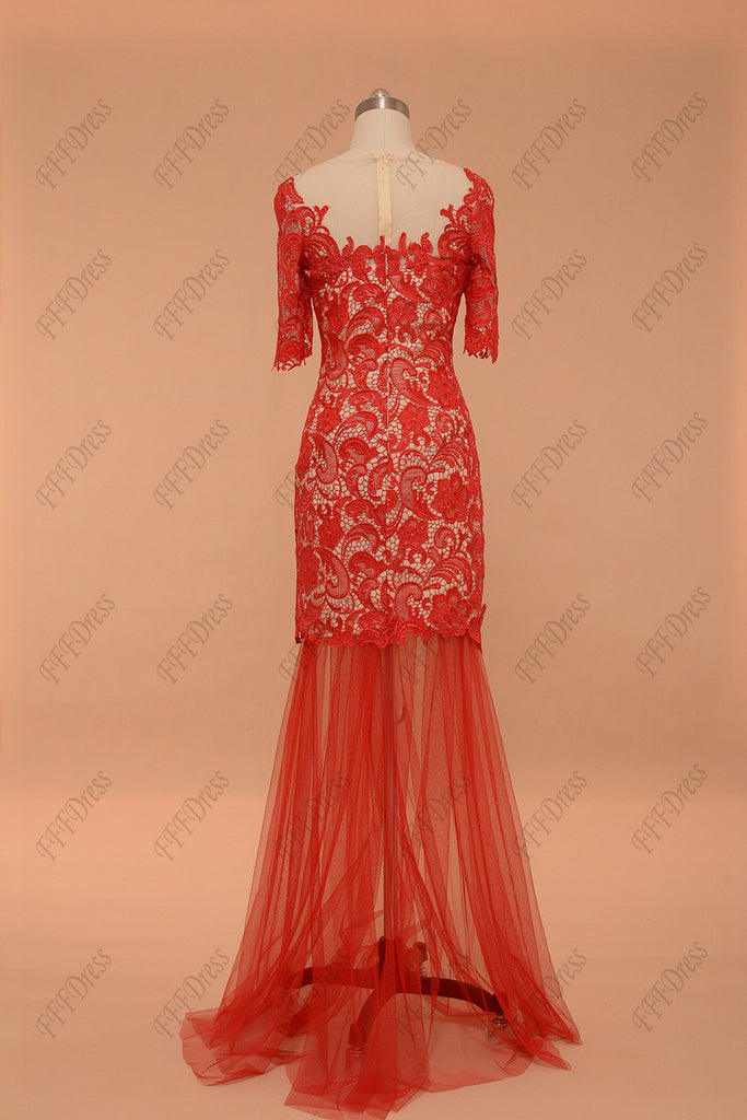 e7d2b58d9a7 Two piece red lace short prom dresses with sleeves – MyPromDress