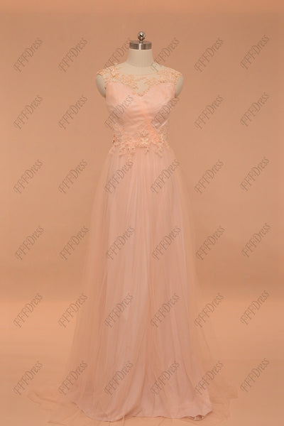 Peach color bridesmaid dresses formal dresses cap sleeve