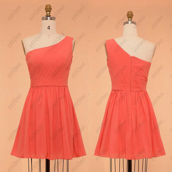 One Shoulder Coral bridesmaid dresses short