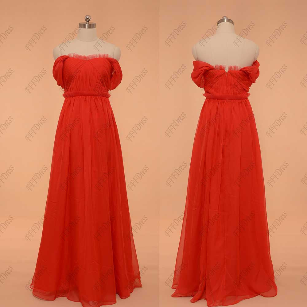 Off the shoulder red prom dresses with ruffed neck and waist