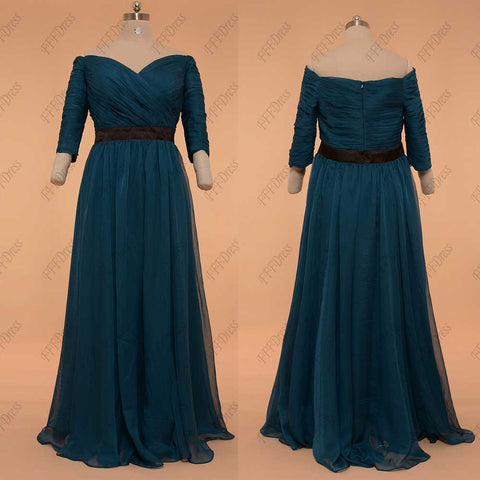 Plus size mother of the bride dress teal mother of the groom dress with sleeves