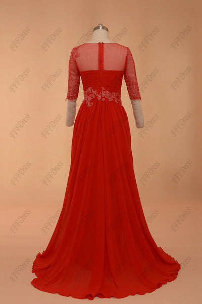 Red modest prom dresses with sleeves
