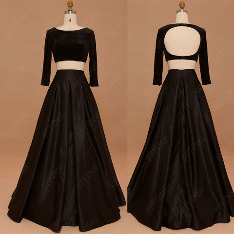 Two pieces prom dresses with sleeves beaded two piece backless prom dress