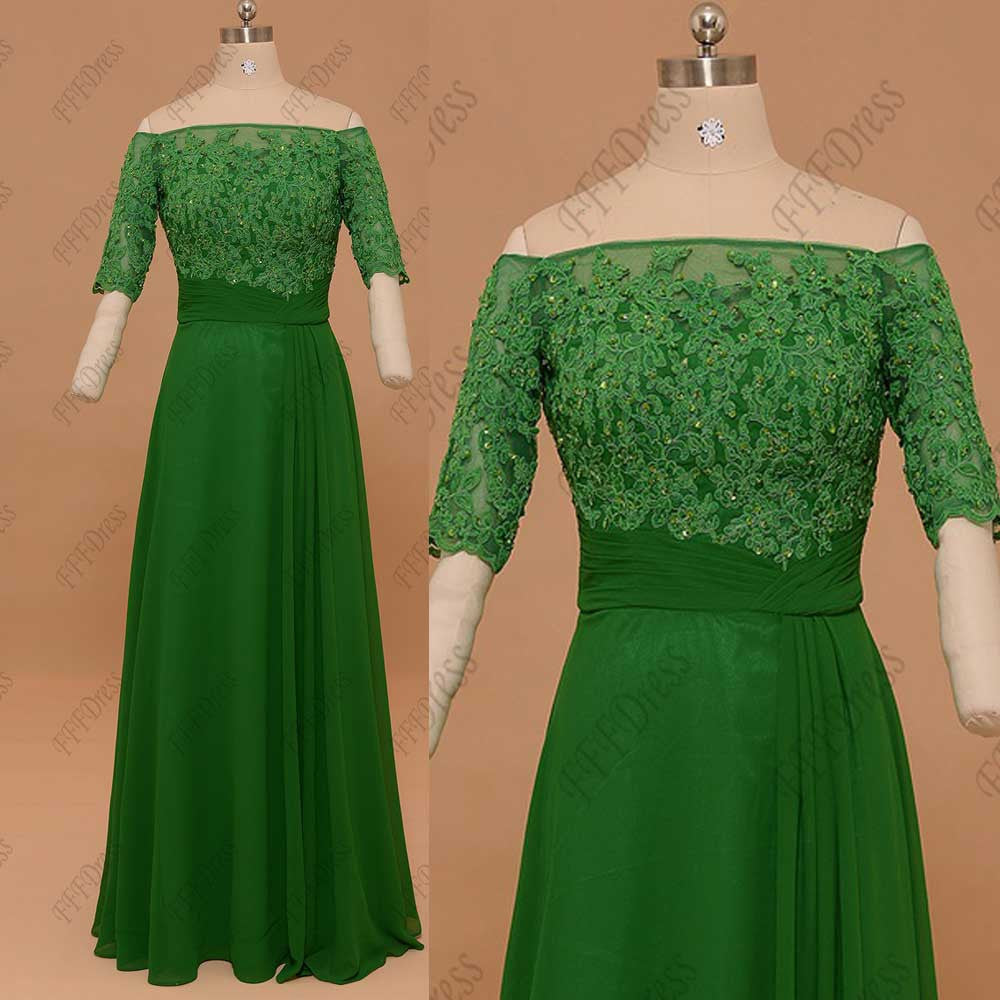 Emerald green off the shoulder prom dresses with sleeves