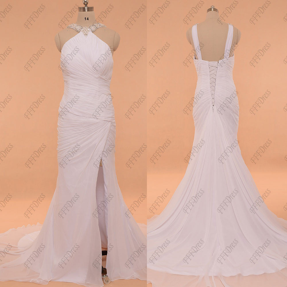 Mermaid beach wedding dress with slit