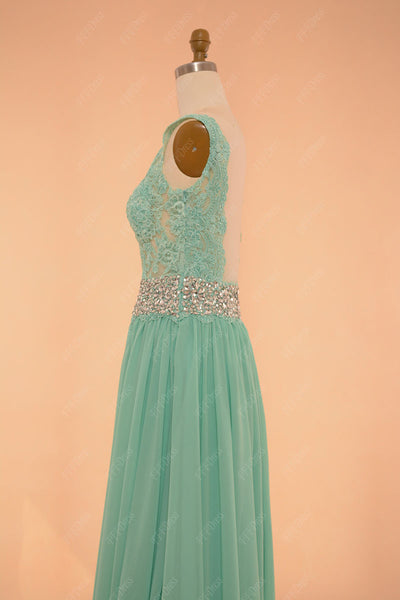 Mint green backless prom dresses lace sparkly pageant dresses