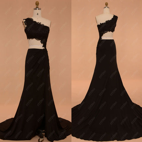 Cut out black prom dress with slit