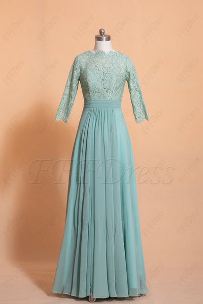 Dusty Green Modest Lace Bridesmaid Dress three quarter sleeves