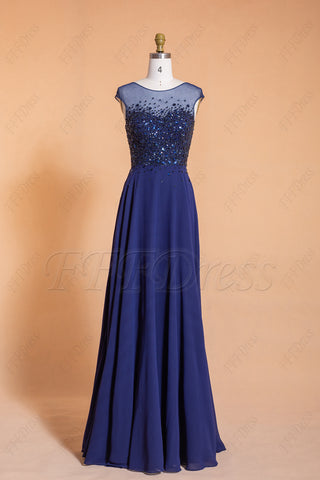 Beaded Modest Sparkly Navy Prom Dresses Long Cap Sleeves