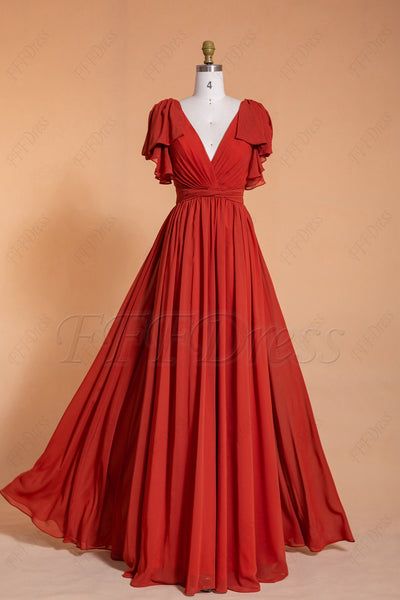 Rusted red modest long bridesmaid dresses