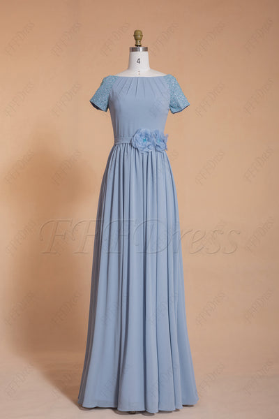 Dusty blue modest beaded long bridesmaid dresses