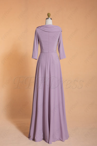 Light wisteria modest bridesmaid dresses with sleeves