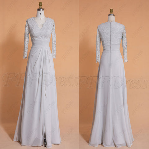 Silver grey modest bridesmaid dresses 3/4 sleeves