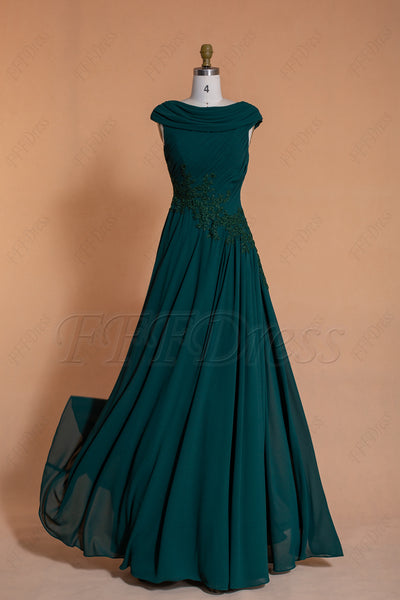 Modest dark emerald bridesmaid dresses cowl neck