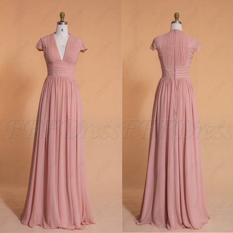 Blush rose modest bridesmaid dresses long with cap sleeves