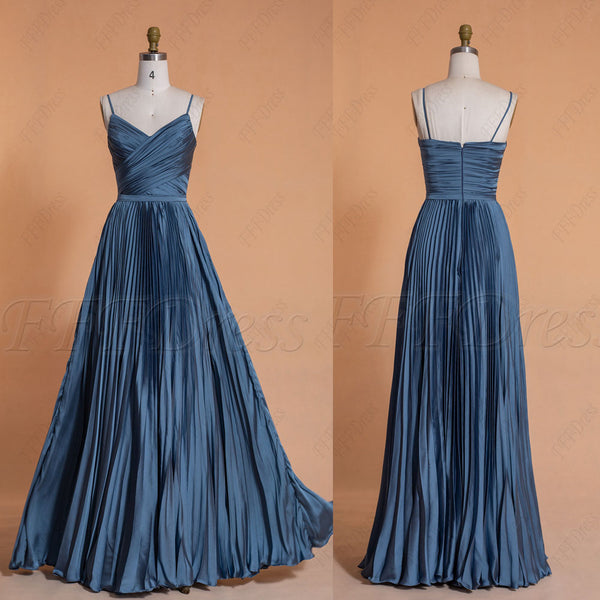 Dusty blue Satin bridesmaid dresses spaghetti straps long