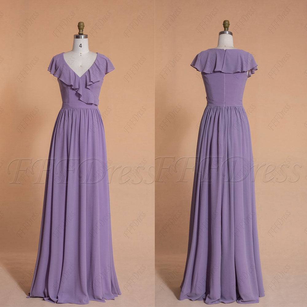 Wisteria Modest Bridesmaid Dresses Flouncing Cap Sleeves