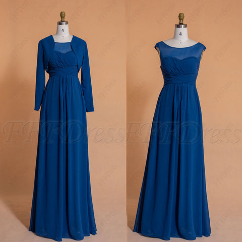 Modest dark teal bridesmaid dresses with long sleeves bolero