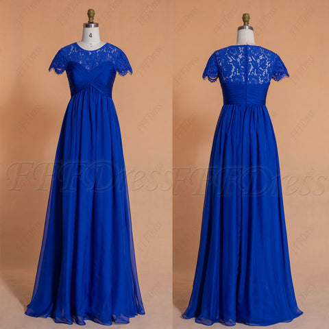 Sapphire blue modest Maternity bridesmaid dresses Cap Sleeves