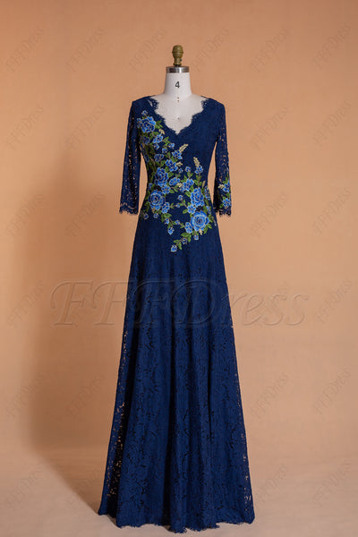 Modest Lace Navy Blue Bridesmaid Dresses 3/4 Sleeves with embroidery
