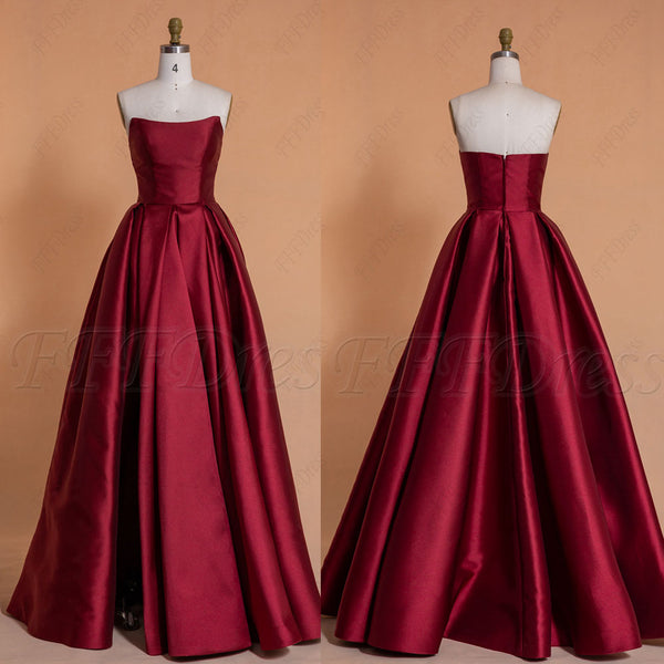 Burgundy Long Prom Dresses with Slit