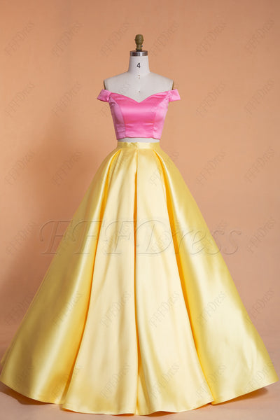 Two Piece Yellow Pink Prom Dresses Long Off the Shoulder