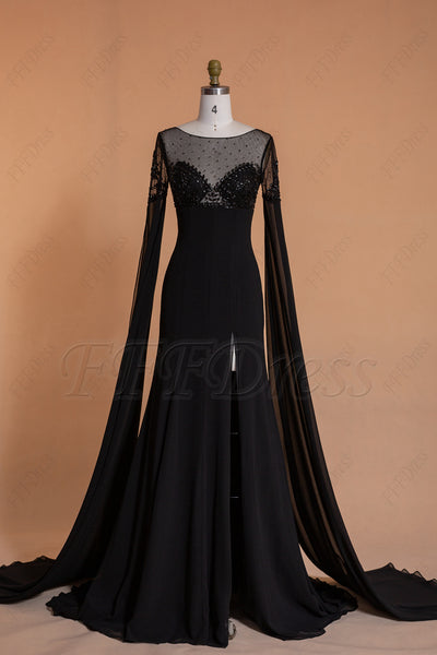 Beaded black Slitted prom dresses long with sleeves