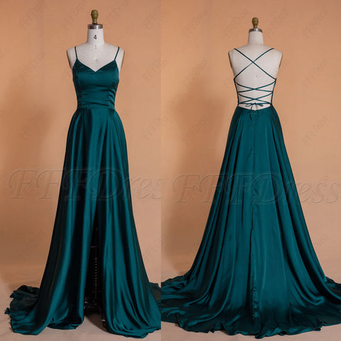Dark green backless long prom dresses with slit