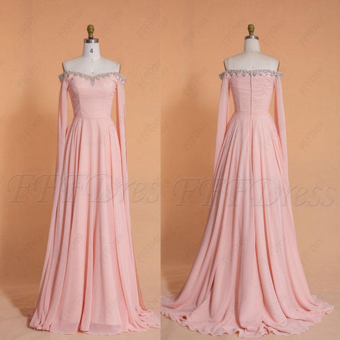 Crystals Beaded pink long prom dress long sleeves with train