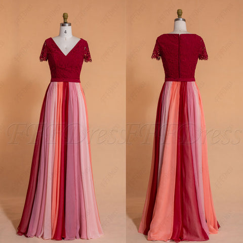 Burgundy coral rose blush multi color Bridesmaid dresses with short sleeves
