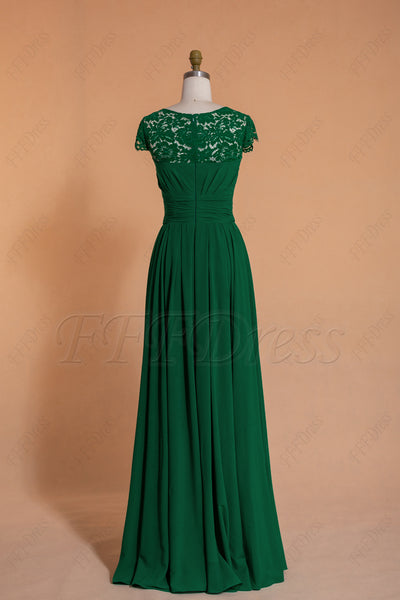 Modest Emerald Bridesmaid Dresses cap sleeves long