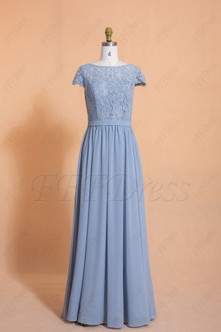 Dusty Blue Modest Bridesmaid Dresses Cap Sleeves