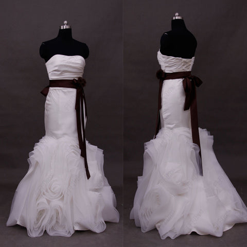 Mermaid swirled wedding dress with brown sash