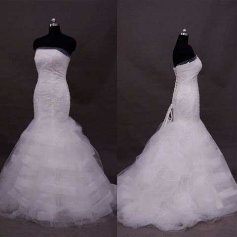 Lace Mermaid Wedding Dress with Wide Trims