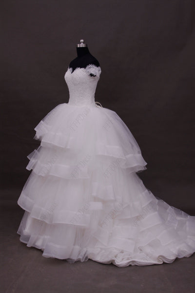 Lace ball gown off the shoulder tiered wedding dresses