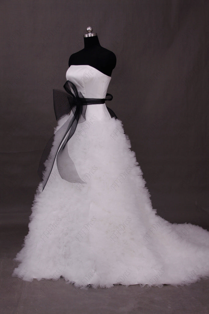 Black and white ruffled ball gown wedding dresses with sash ...