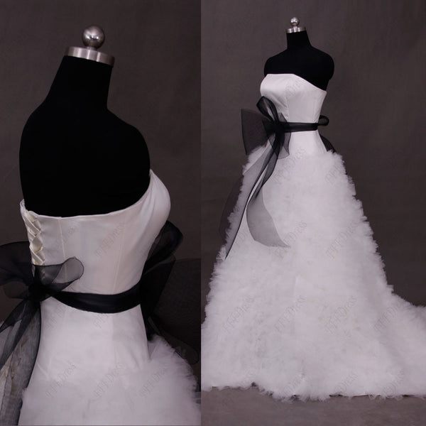 Black and white ruffled  ball gown wedding dresses with sash