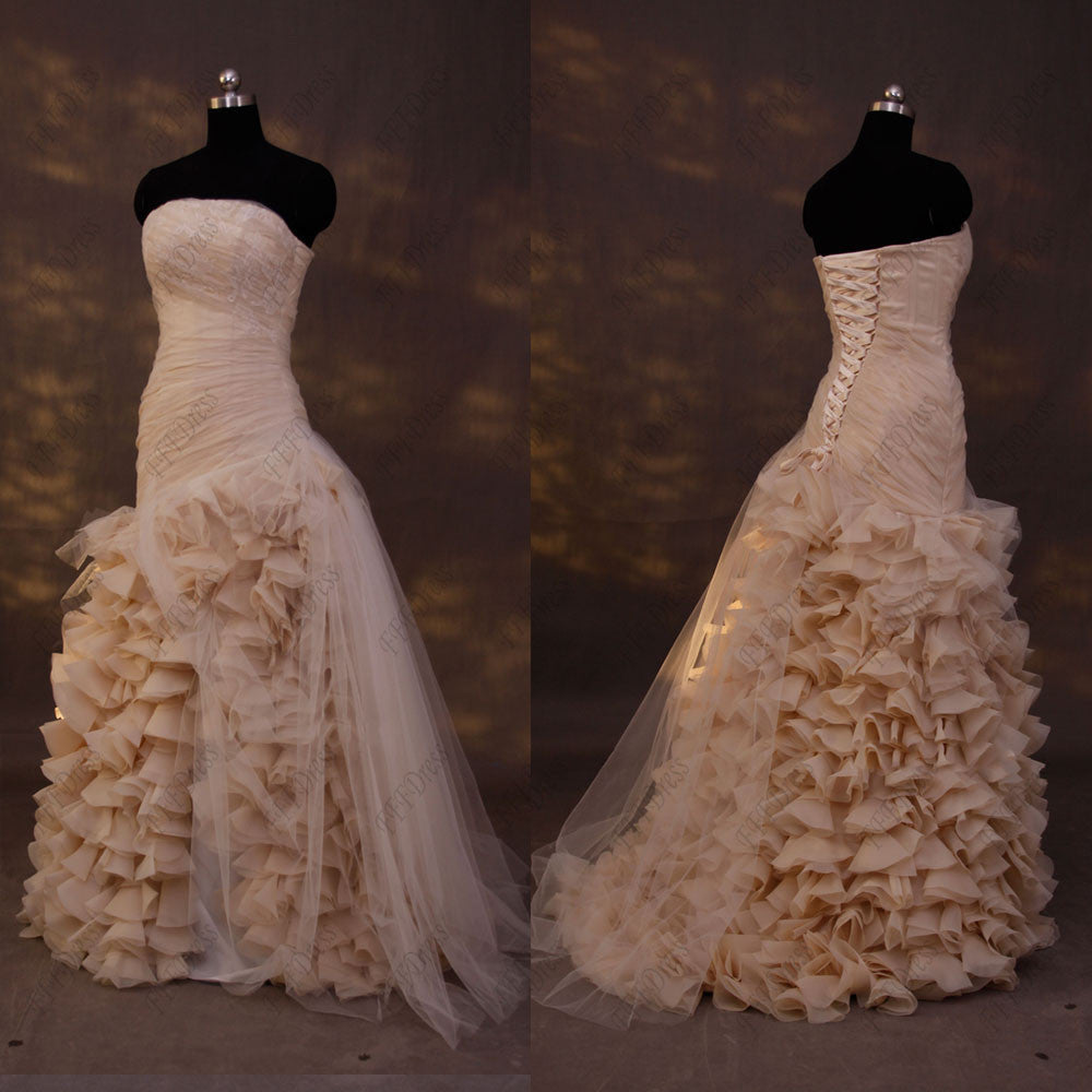 Champagne Ball Gown Wedding Dresses: Champagne Ball Gown Ruffled Wedding Dresses