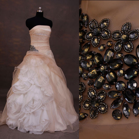 Champagne flowers ball gown wedding dress with charcoal crystal