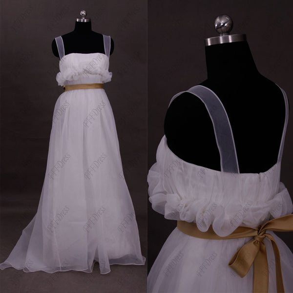Ruffled organza beach wedding dress with brown sash