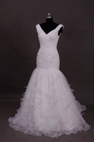Mermaid V Neck wedding dress with hand sewn padels flowers