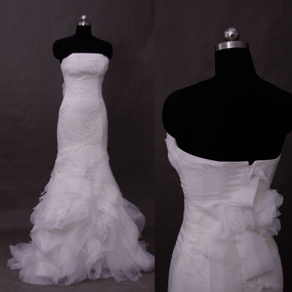 Mermaid swirled strapless wedding dresses