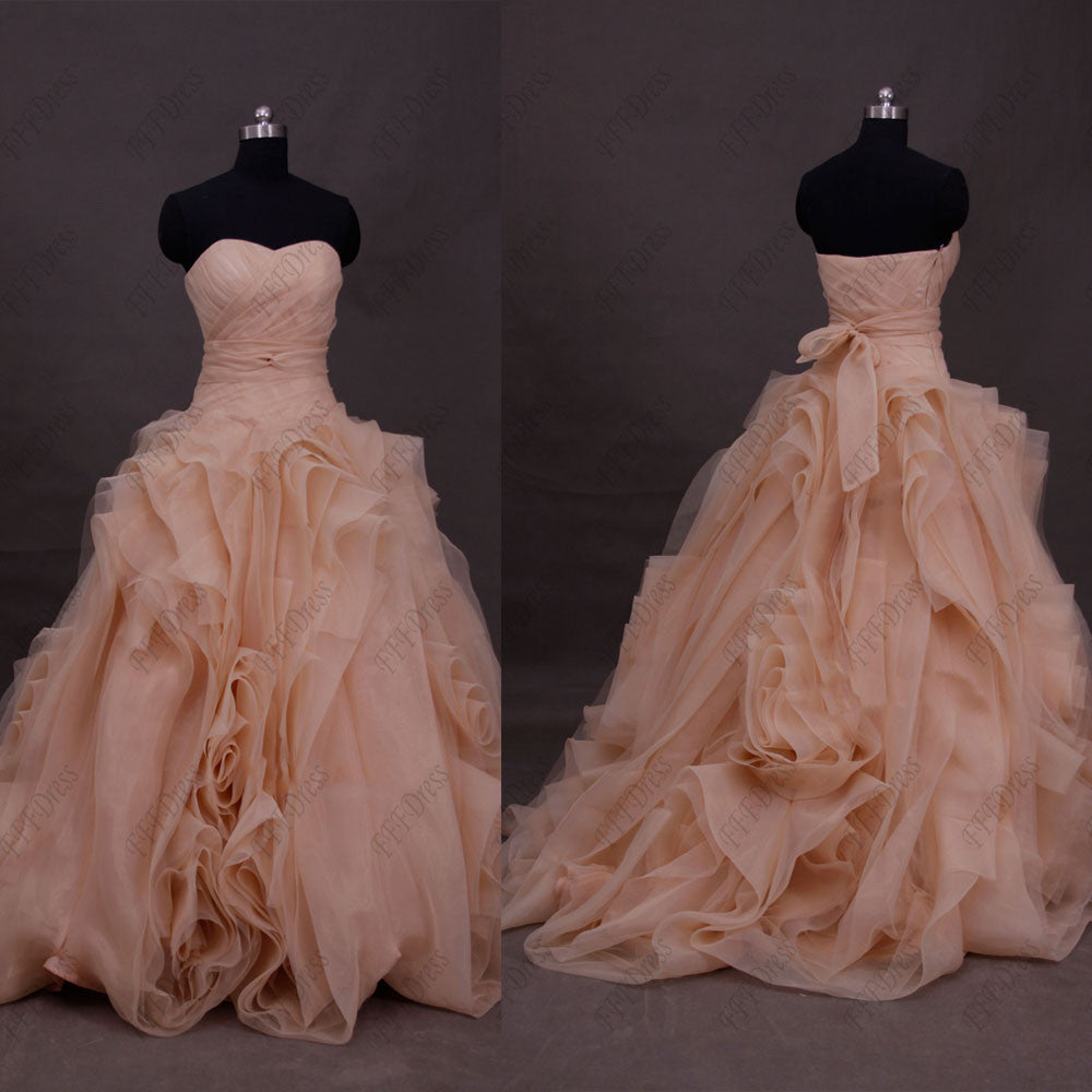Blush ball gown wedding dress with swirls – MyPromDress