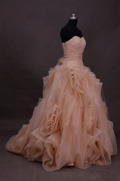 Blush ball gown wedding dress with swirls