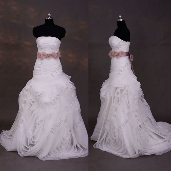 Strapless ball gown swirls wedding dress with dusty pink sash
